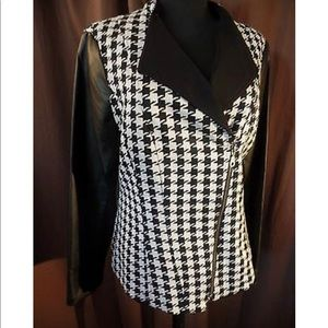 Asymmetrical Houndstooth Jacket faux leather- 14